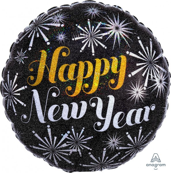"Anagram Folienballon Rund ""Happy New Year"" Pizazz Holo 70cm/27"""