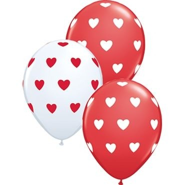 "Qualatex Latexballon Big Hearts Red and White Assorted 28cm/11"" 50 Stück"