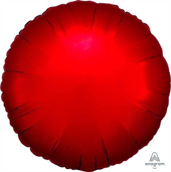 "Anagram Folienballon Rund Satin Rot (Sangria) 45cm/18"""