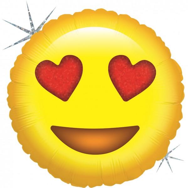 "Betallic Folienballon Emoji Liebe Holo 46cm/18"""