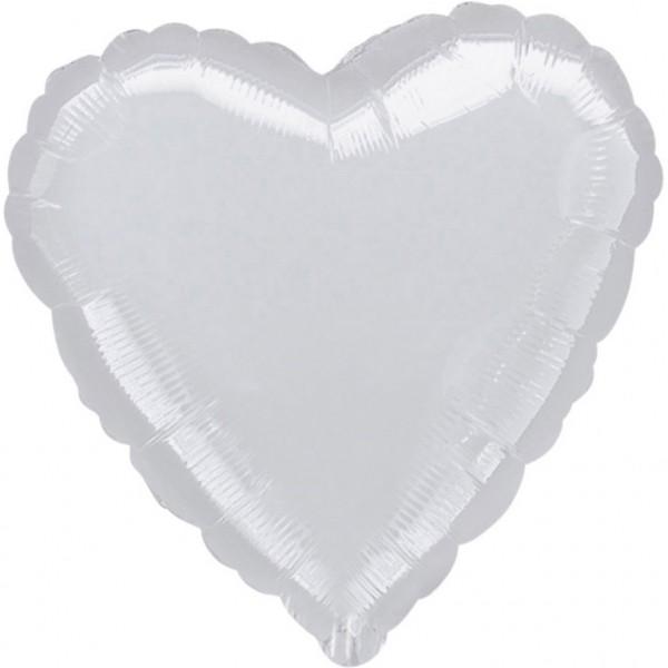 "Anagram Folienballon Jumbo Herz Metallic Silver 80cm/32"""