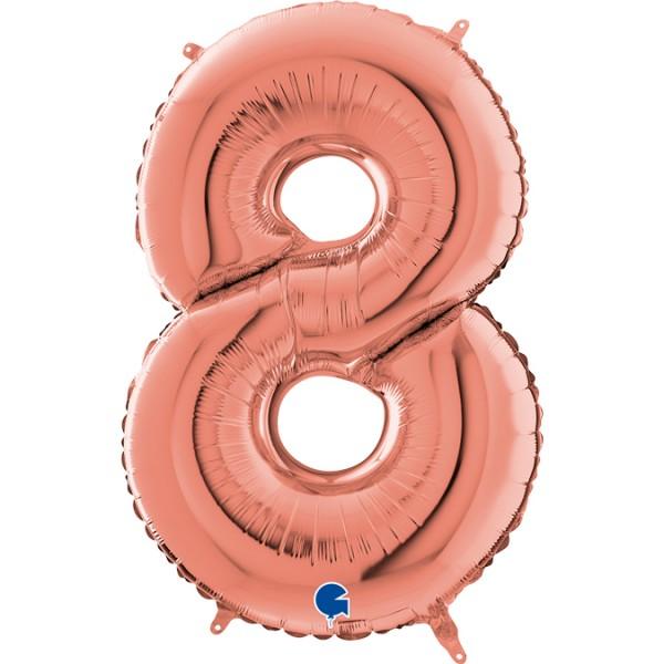 """Grabo Folienballon Zahl 8 Rose Gold 66cm/26"""""""