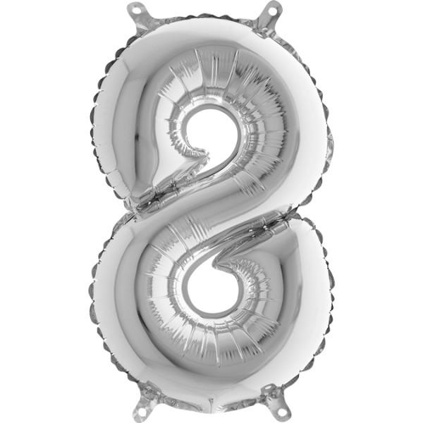 "Grabo Folienballon Mini Silber 36cm/14"" Zahl 8"