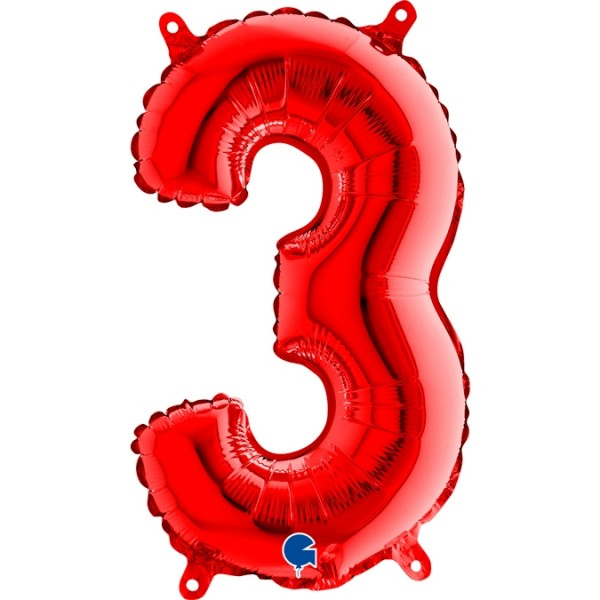 "Grabo Folienballon Zahl 3 Red 36cm/14"""
