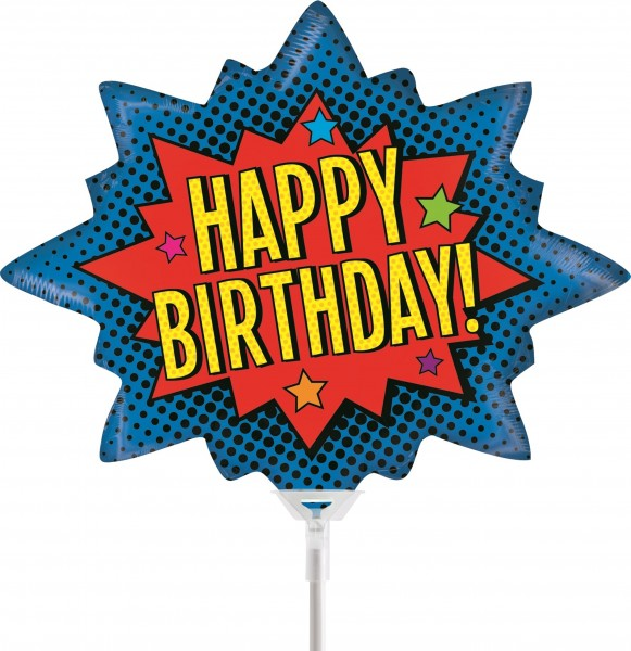 "Betallic Folienballon Superhero Birthday Mini 35cm/14"" luftgefüllt inkl. Stab"