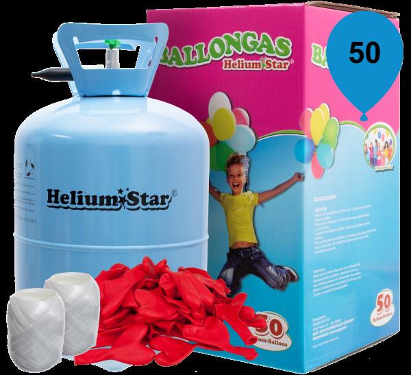 Luftballon Helium Set: Helium & 50 Rote Latex-Herzballons