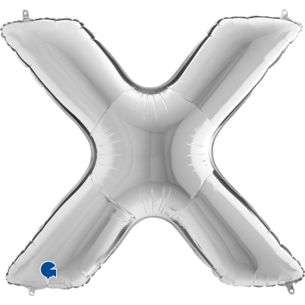 """Grabo Folienballon Buchstabe X Silver 100cm/40"""""""