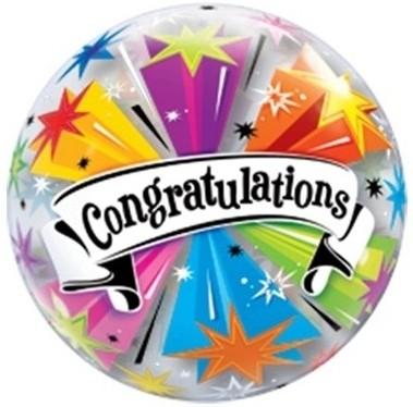 """Qualatex Bubbles Congratulations Banner Blast 55cm/22"""""""
