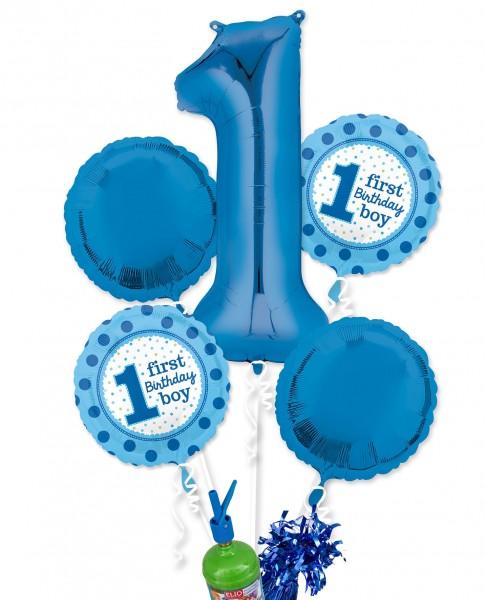 "Folienballon Helium Set ""1. Geburtstag Jungs"""