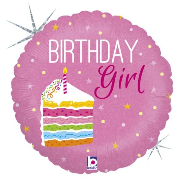"Betallic Folienballon Birthday Girl Holo 45cm/18"""