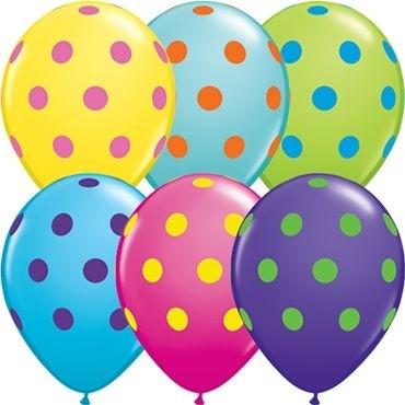 "Qualatex Latexballon Colourful Sortiment Big Polka Dots 28cm/11"" 50 Stück"