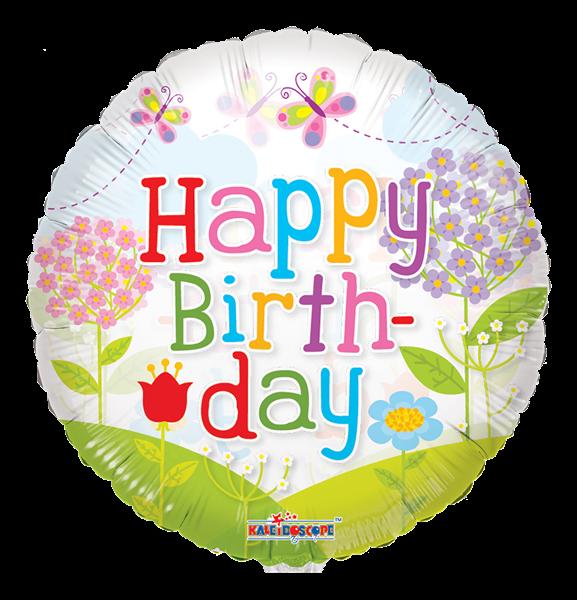 "Kaleidoscope Folienballon ""Happy Birthday - Blumenwiese"" 45cm/18"""