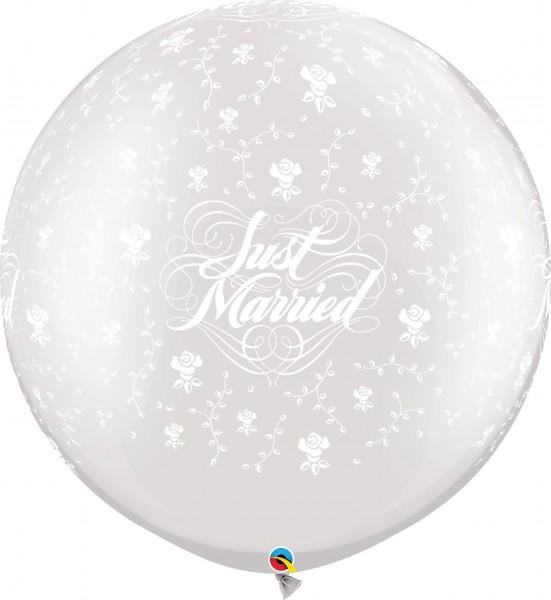 "Qualatex Latexballon Just Married Flowers Pearl White 75cm/30"" 2 Stück"