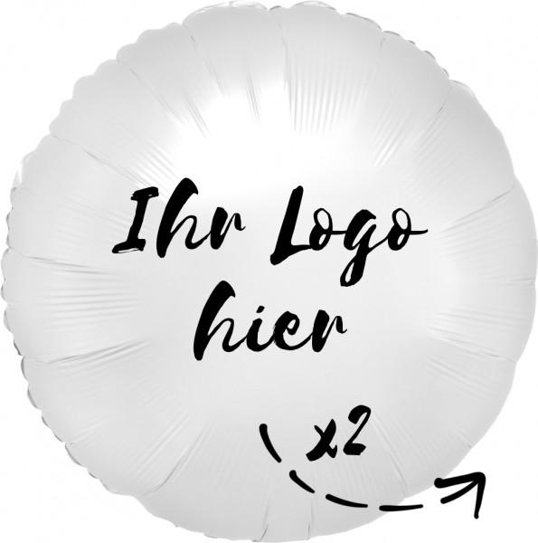 """Folien-Werbeballon Rund Satin Luxe White 45cm/18"""" 2-Seitig bedruckt"""