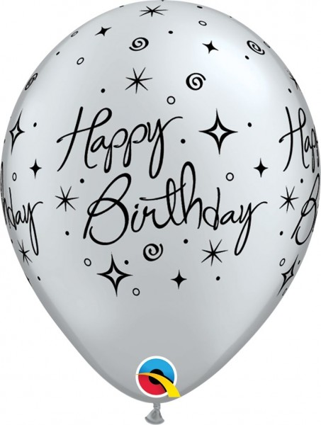 "Qualatex Latexballon Birthday Elegant Sparkles & Swirl 28cm/11"" 25 Stück"