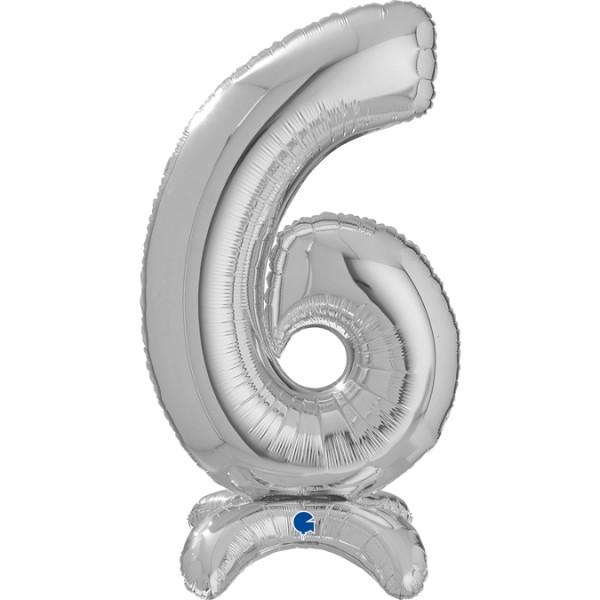 "Grabo Folienballon Zahl 6 Silver standups 64cm/25"""