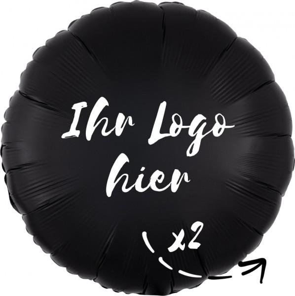 """Folien-Werbeballon Rund Satin Luxe Onyx 45cm/18"""" 2-Seitig bedruckt"""