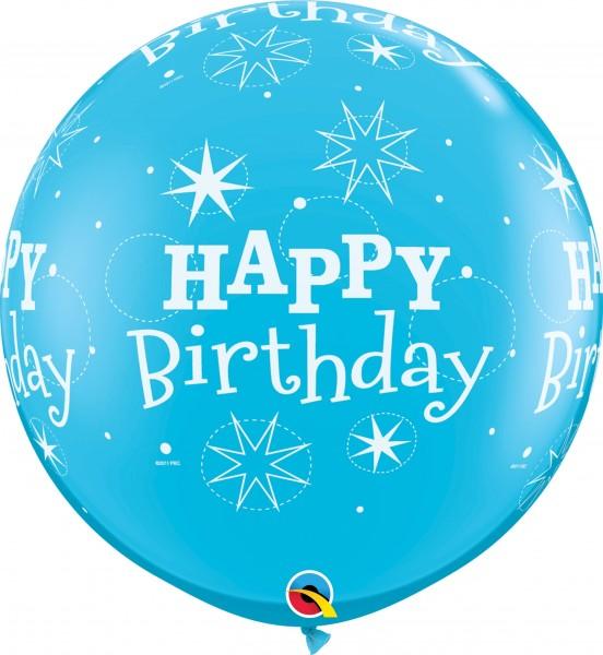 Qualatex Latexballon Birthday Sparkle-A-Round Robin's Egg Blue 90cm/3' 2 Stück