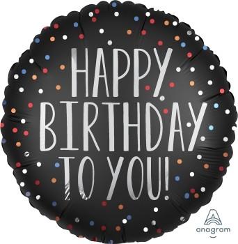"""Anagram Folienballon Rund Satin 30cm Durchmesser """"Happy Birthday Tou You"""" Schwarz & Punkte (Black & Dots)"""