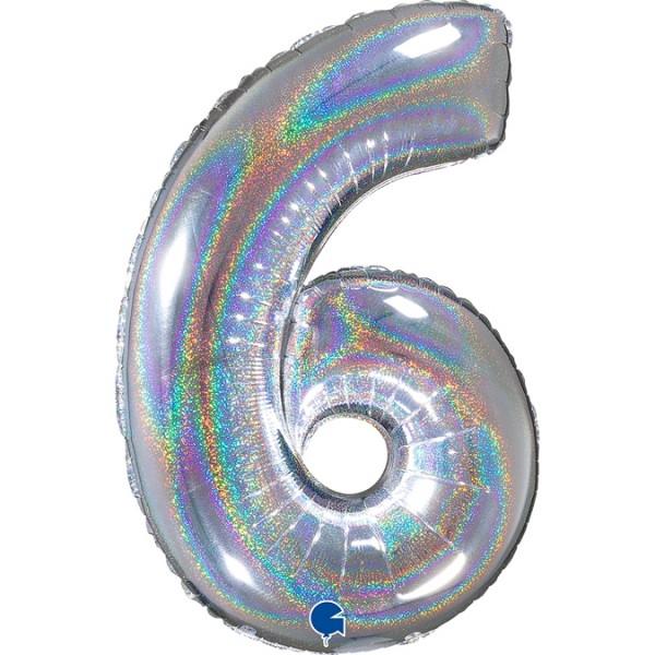 """Grabo Folienballon Zahl 6 Glitter Holographic Silver 66cm/26"""""""