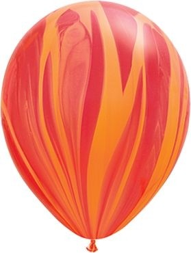 "Qualatex Latexballon Red Orange Rainbow SuperAgate 28cm/11"" 25 Stück"