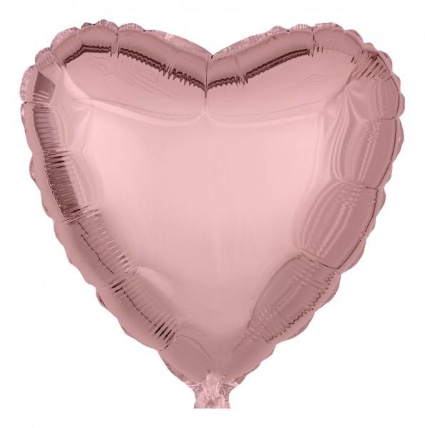Folienballon Herz, Metallic Roségold, 45cm Ø