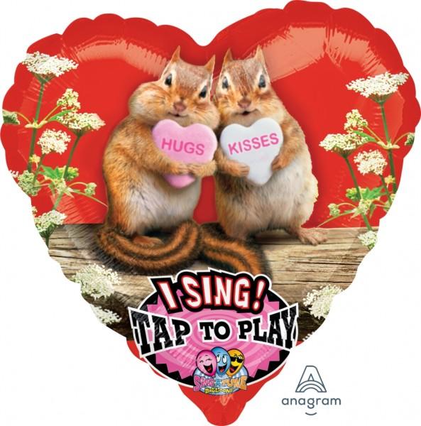 "Anagram Folienballon Herz Sing-A-Tune Avanti ""Hugs & Kisses"" Chipmunks 75cm/30"""