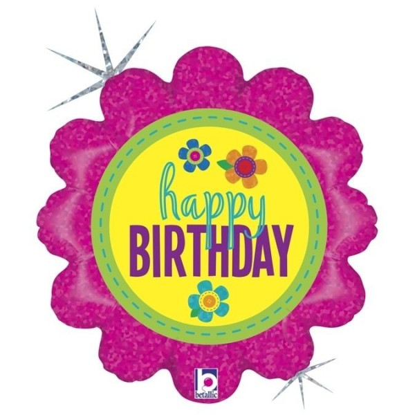 "Betallic Folienballon Birthday Button Flowers Holographic 45cm/18"""