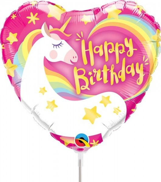 "Qualatex Folienballon Birthday Magical Unicorn Heart 23cm/9"" luftgefüllt inkl. Stab"