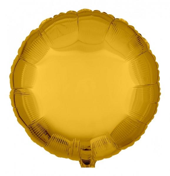 Folienballon Rund, Metallic Gold, 45cm Ø