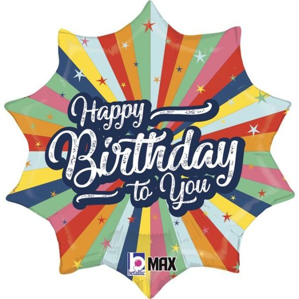 """Betallic Folienballon Birthday Bursting Colors 46cm/18"""""""