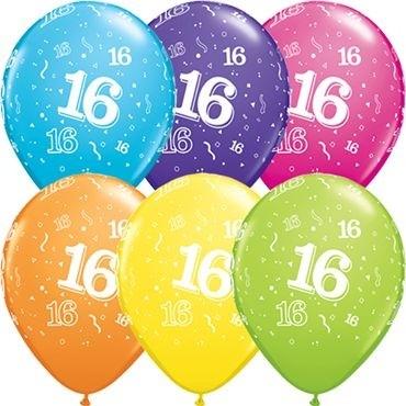 "Qualatex Latexballon Age 16 Retail Sortiment 28cm/11"" 6 Stück"