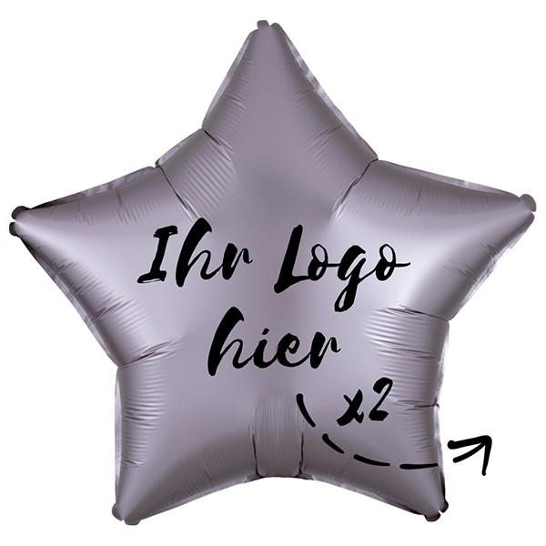 "Folien-Werbeballon Stern Satin Luxe Greige 50cm/20"" 2-Seitig bedruckt"
