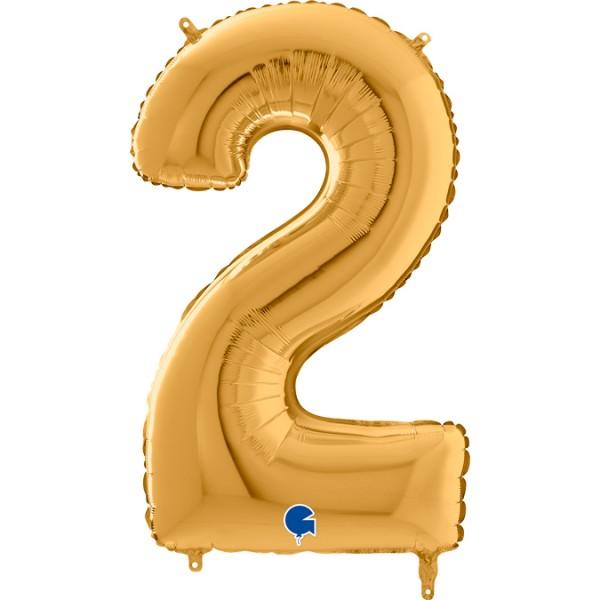 "Grabo Folienballon Zahl 2 Gold 66cm/26"""