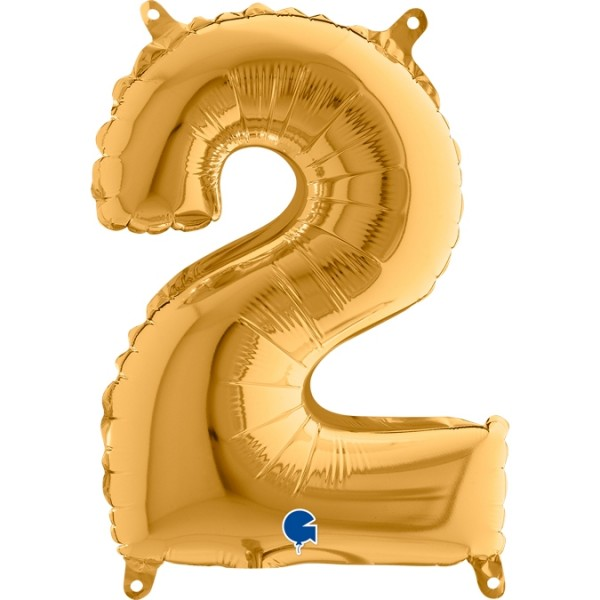 "Grabo Folienballon Zahl 2 Gold 35cm/14"""