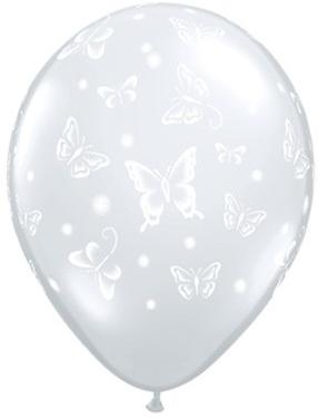 """Qualatex Latexballon Butterflies Diamond Clear 13cm/5"""" 100 Stück"""