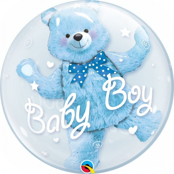 """Qualatex Bubbles Double Bubble Baby Blue Bear 60cm/24"""""""