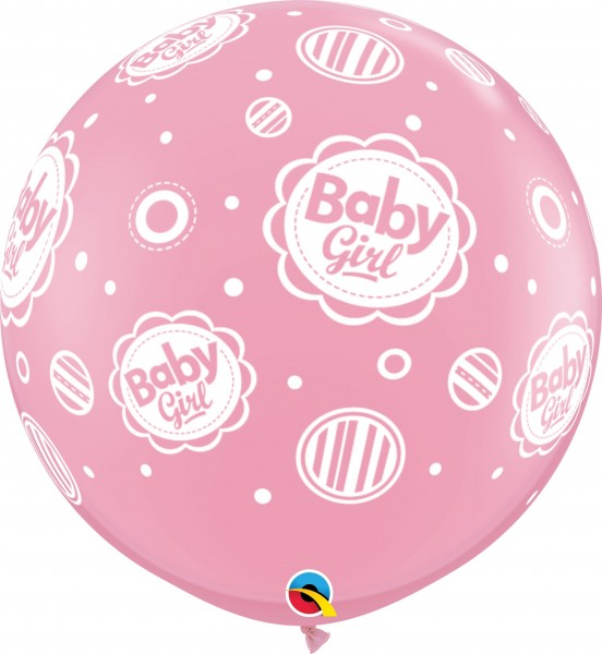 Qualatex Latexballon Baby Girl Dots-A-Round Pink 90cm/3' 2 Stück