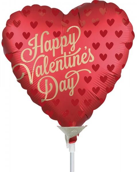 """Anagram Folienballon Happy Valentine's Day 23cm/9"""" Sangria luftgefüllt mit Stab"""
