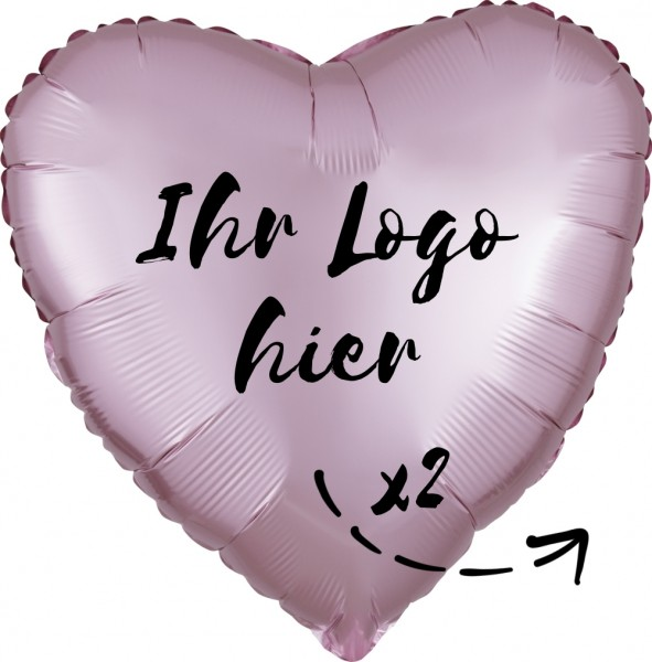"Folien-Werbeballon Herz Lilac Luxe Pastel Rose 45cm/18"" 2-Seitig bedruckt"