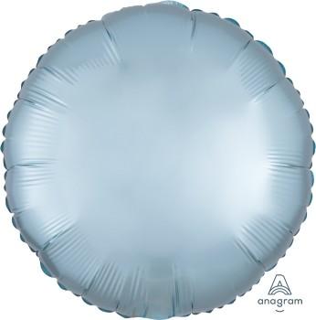 Anagram Folienballon Rund 45cm Durchmesser Satin Luxe Pastell Blau (Pastel Blue)