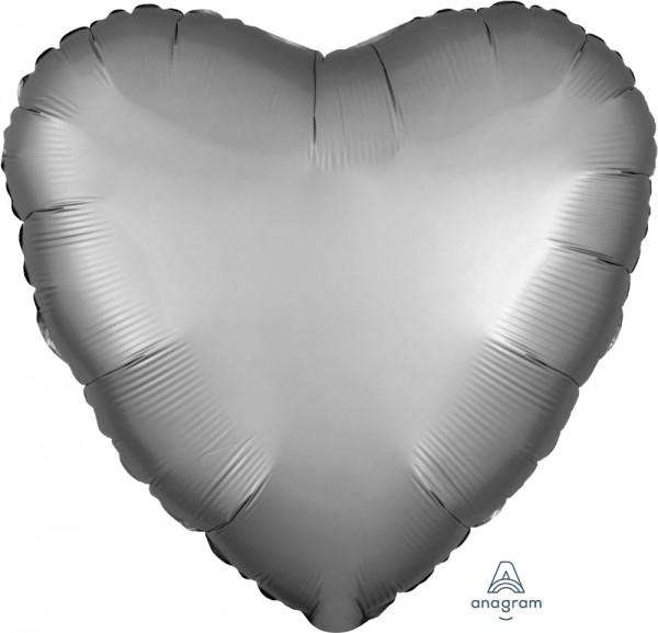 "Anagram Folienballon Herz Satin Luxe Platinum 45cm/18"""