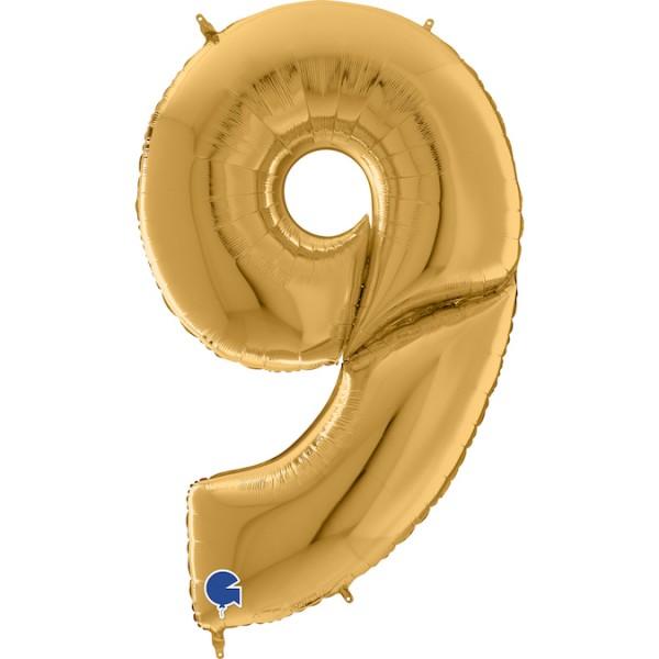 "Grabo Folienballon Zahl 9 Gold 160cm/64"""