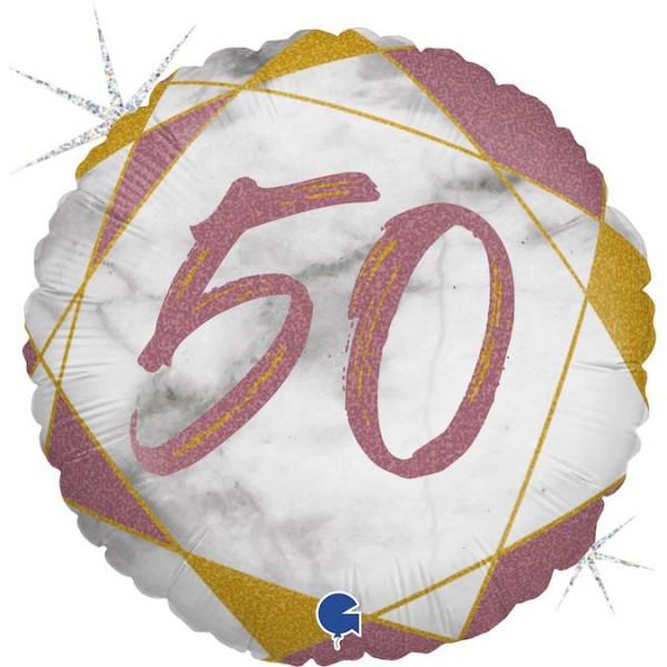 "Grabo Folienballon Marble Mate Zahl 50 Rund 46cm/18"""