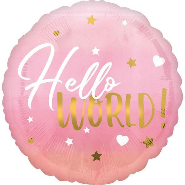 "Anagram Folienballon Rund ""Hello World"" Rosa 45cm/18"""
