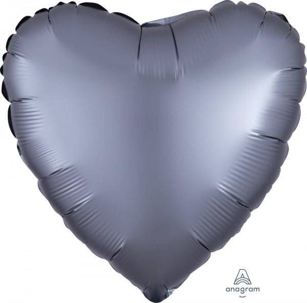 "Anagram Folienballon Herz Satin Luxe Graphite 45cm/18"""