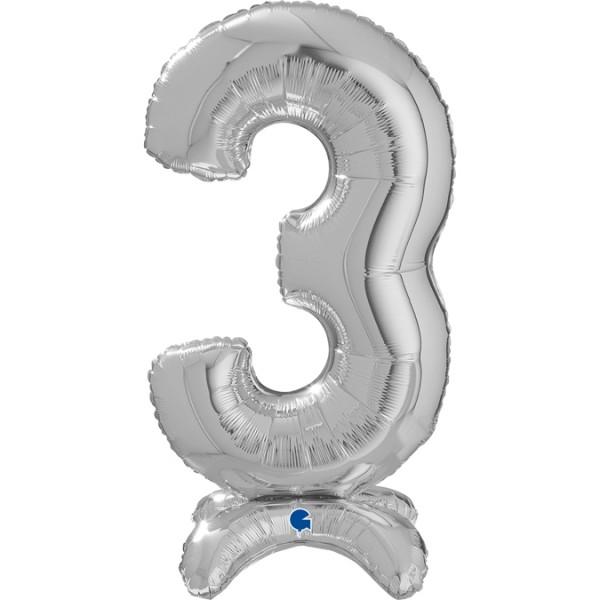"Grabo Folienballon Zahl 3 Silver standups 65cm/25"""