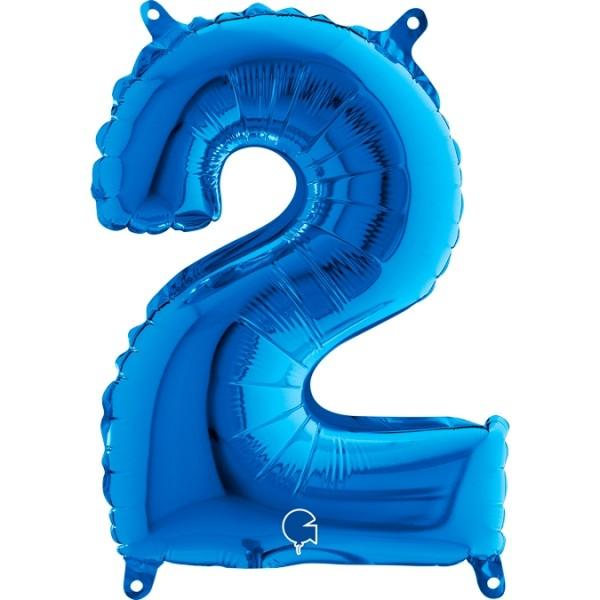 "Grabo Folienballon Blau 36cm/14"" Zahl 2"