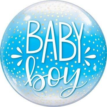 "Qualatex Bubbles Baby Boy Blue & Confetti Dots 55cm/22"""