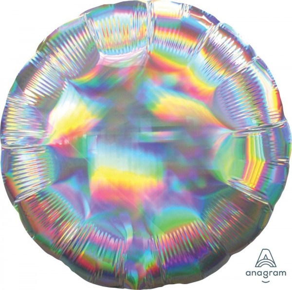 "Anagram Folienballon Rund Iridescent Silver Holo 45cm/18"""